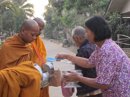 Feeding Monks In Buriram