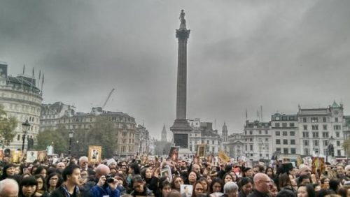 Thousands Gather In London's Trafalgar Square To Honour The King