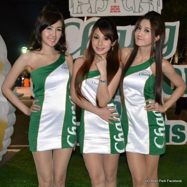Promo girls in Udon's 'Beer Park'.