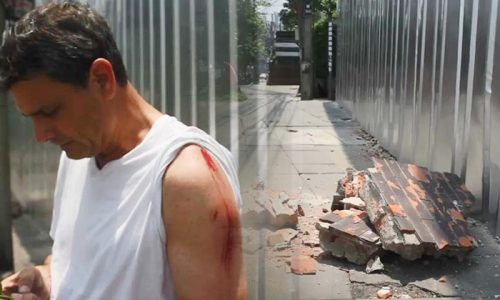 Foreigner In Lucky Escape As Wall Collapses In Bangkok