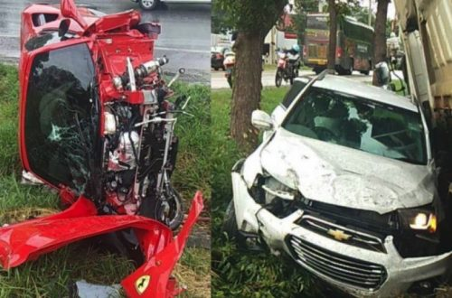 Brand New Ferrari Slams Into Tree Following Collision On Friendship Highway